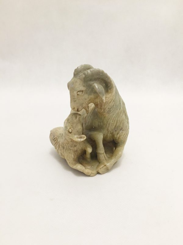 Soapstone Nanny Goat and Kid