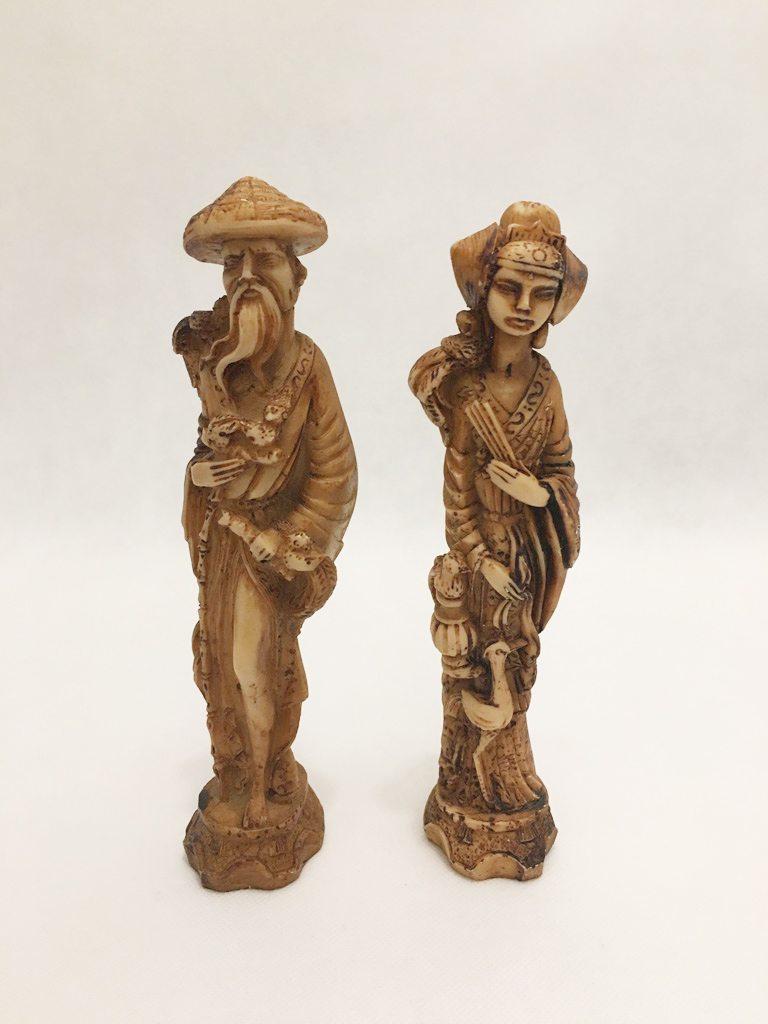 Oriental Carved Figurine Pair