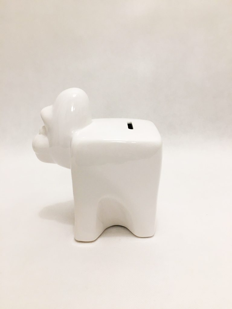 White Porcelain Gorilla PIggy Bank 1