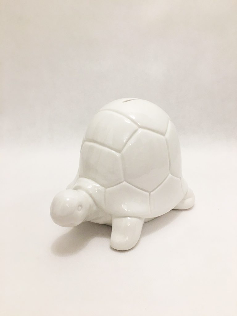 White Porcelain Tortoise Piggy Bank