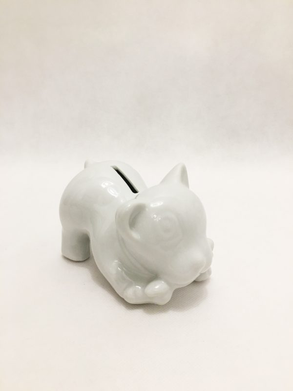 White Porcelain Kitten Piggy Bank