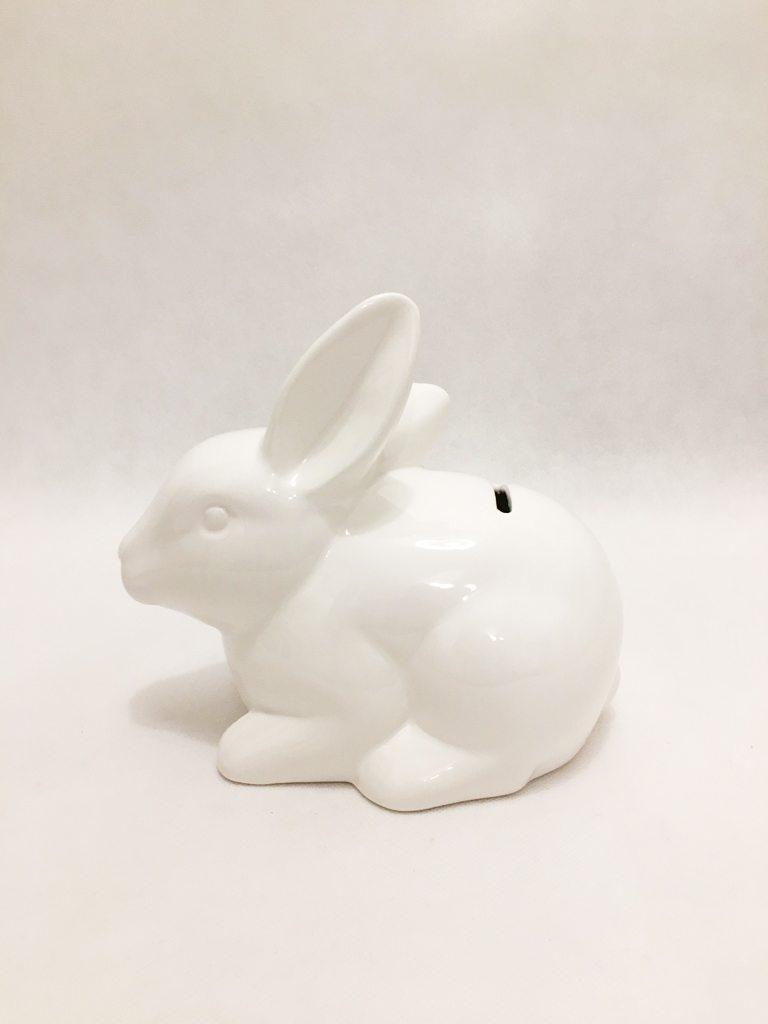 White Porcelain Rabbit Piggy Bank