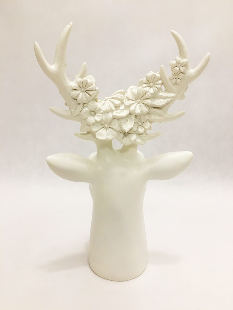 White Stag With Flowers Ornament