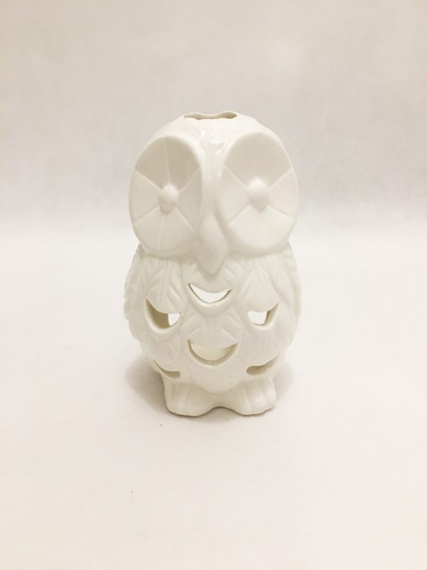 White Porcelain Owl Tealight Holder