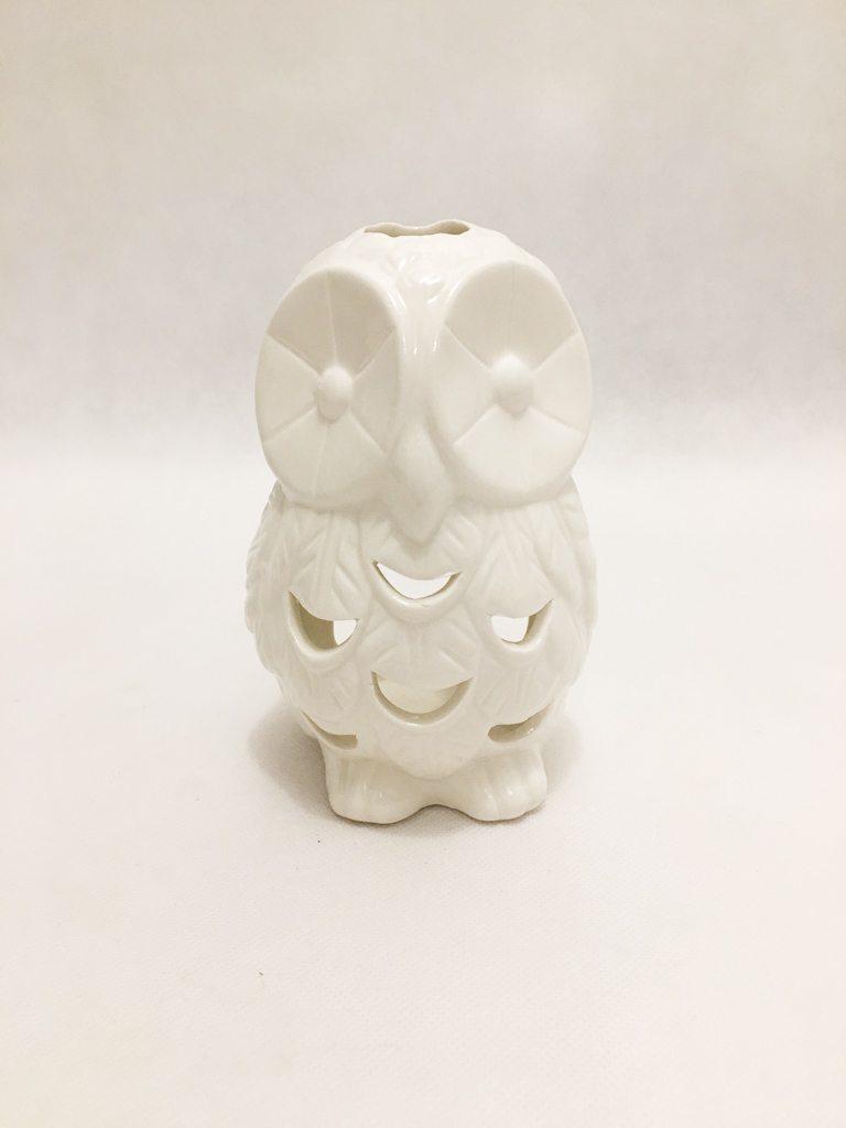 White Porcelain Owl Tealight Holder