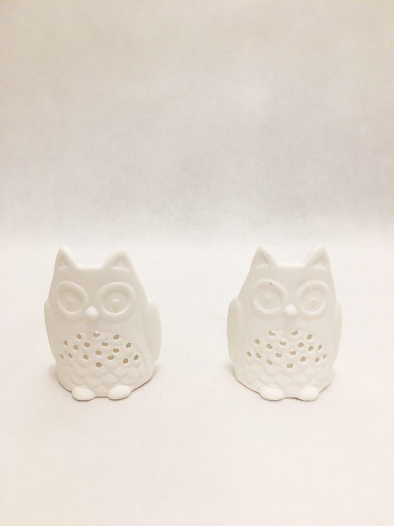 White Owl Tealight Holders Set Of 2