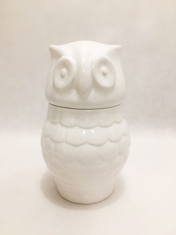 White Porcelain Large Owl Storage