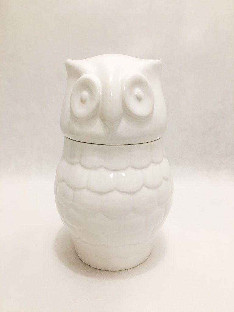 White Porcelain Large Owl Storage
