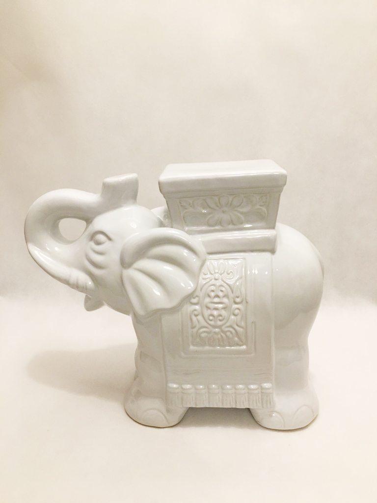 White Porcelain Large Elephant Ornament