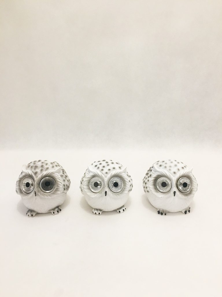 Set of 3 Solar or Battery Powered Owl Garden Ornaments